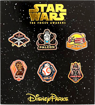 Disney 6 Booster Pin SET✿Star Wars BB8 Chewbacca X-Wing Falcon Fighter Force NEW