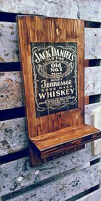 Jack Daniels plaque wooden sign with shelf gift mancave shed bar pub fathers day