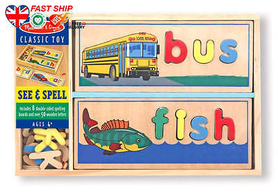 Melissa Doug See Spell Wooden Educational Toy With 8 Double-Sided Spelling B