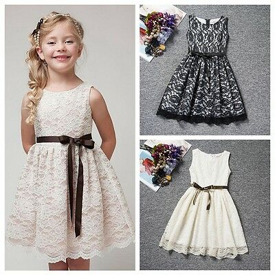 Child Kids Girls Sleeveless Lace Flower Party Princess Dresses Pageant Wedding