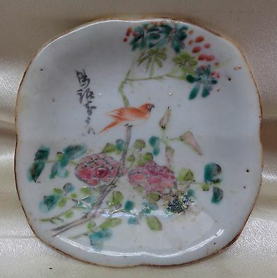 Signed Chinese Antique Porcelain Dish w. Hand Painted Bird & Flower Designs