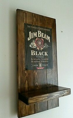 Jim Beam sign plaque  and shelf  wooden Christmas gift mancave shed bar