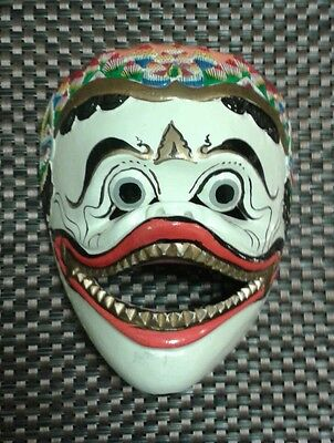 Vintage Chinese Mask Hand Painted Wood Oriental Collectible Unusual