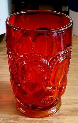 Le Smith Moon & Stars Red Amberina Tumbler EUC Excellent Used Contiion
