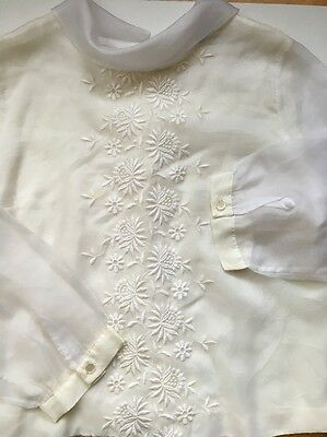 JUDY BOND Vintage White Embroidered   Long Sleeve Top Sz S-M?