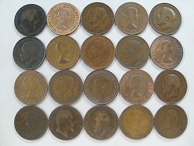 Lot of 20 Great Britain 1 Penny coins No. 1
