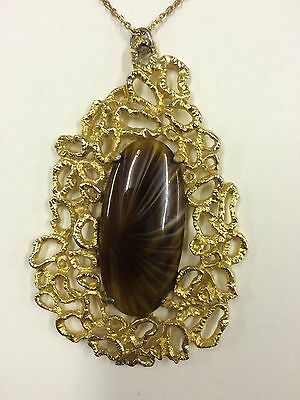 Vintage Pendant Necklace 70s Disco Glamour Gold Coloured Metal