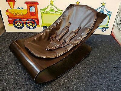 Bloom Coco Baby Bloombaby Leather and Wood Lounger Bouncer Rocking Chair