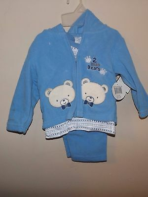 New boys blue Teddy Boom 2 little bears embroidered fleece coat pant top 24 mon