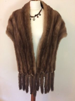 Vintage Stunning Pastel Mink Real Fur Stole Shawl Wrap With Detachable Tails