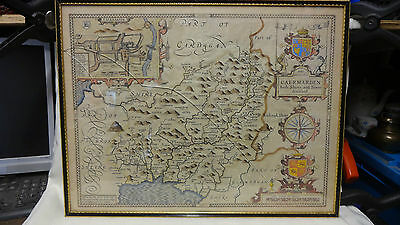 Antique John Speed Hand Coloured Welsh Map Of Caermarden-Shire C.1611
