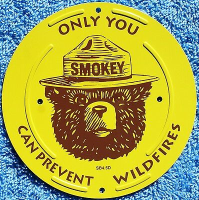 """USFS US Forest Service NEW Smokey Bear 4.5"""" Inch Boundary Marker Metal Sign"""