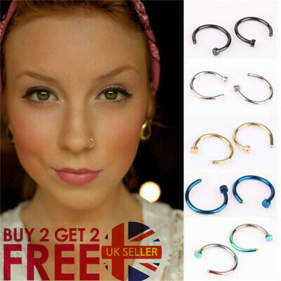 Nose Ring 316L Surgical Steel  Nose Rings Hoop Lip Nose Rings 8 Colour 3 Size
