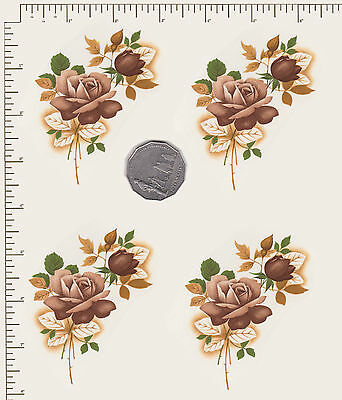 """4 x Waterslide ceramic decals Decoupage Rose spray floral 3 1/2"""" x 2 1/ 2"""" PD850"""