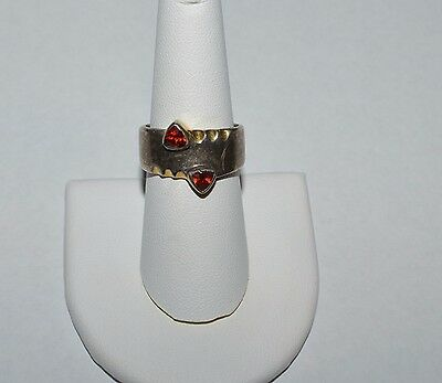 Vintage Taxco Mexico Modernist Sterling Silver And Garnets Ring Size 8