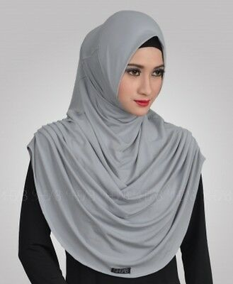 Gray Revina Instant Hijab Khimar Amira One Piece Slip On Muslim Scarf Abaya