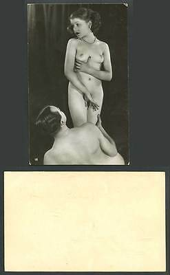 Erotic Risque Romance Lovers Glamour Woman Bare Breasts Old Real Photo Postcard
