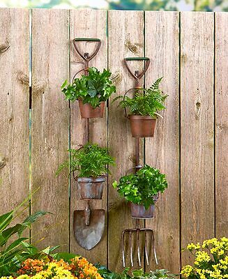 Rustic Garden Tool Planters Shovel or Pitchfork or Set Primitive Country Decor