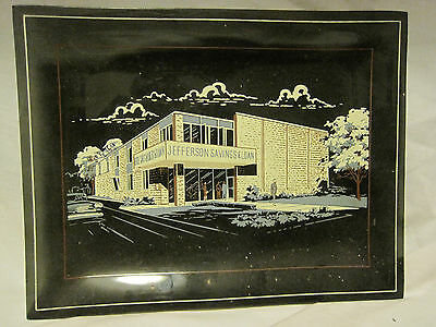 Vtg 1960'S JEFFERSON SAVINGS&LOAN-Ohio Souvenir Smoked Glass Advertising Tray