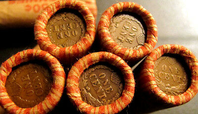 2 Wheat Penny Rolls with Indian Head Showing! Nice Mix! Wheat Cent Lot!