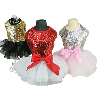 Party Princess Dog Cat Tutu Dress Wedding Pet Clothes Sequin LaceBig Bow Apparel