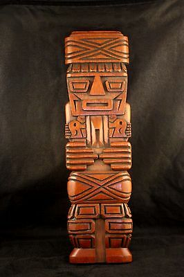 Peruvian Wood Carving Flute Player Totem Wall Hanging