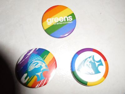 Greens Greenpeace British Columbia, 3 Pins /buttons,rainbow,fish Colors, New!!!