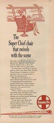 1959 Santa Fe Dome Lounge Swivel Chair Passenger Train Railroad Super Chief Ad