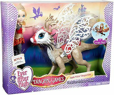 Ever After High - Dragon Games Apple White Doll and Braebyrn Dragon DKM76 NEW