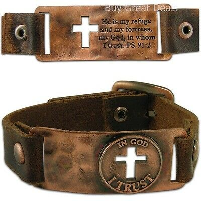 In God I Trust - Leather Christian Bracelet with Cross Psalms 91:2 - NEW