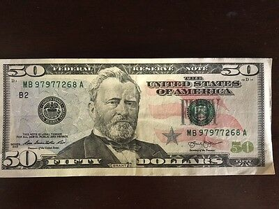 $50 bill Circulated US Currency. FIFTY US DOLLARS *FEDERAL RESERVE NOTE*