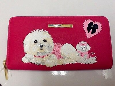 ❤️Maltese Dog Hand Painted Rose Wallet Handbag Purse Clutch artbyuta