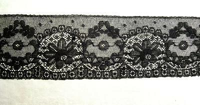 "Antique Chantilly Net Lace Trim 93""x2 ¾"" Mourning French Doll Millinery Vtg"