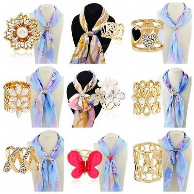 Women Lady Pearl Crystal Scarf Ring Shawl Buckle Clip Holder Brooch Pin Gift Hot