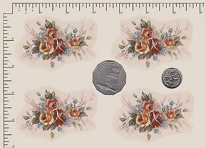 """4 x Waterslide ceramic decals Decoupage Roses Approx 2 3/4""""  x 1 3/4""""  PD853"""