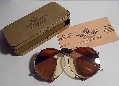 Antique Willson Goggles - Style No. X55 - Leather Shields - with Case -Steampunk