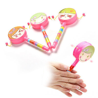 1X Rattle Drum Smile Baby Kid Percussion Educational Musical Instrument Toy gt
