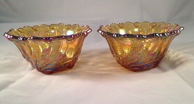 Indiana Marigold Carnival Glass Set of 2 Candle Holders