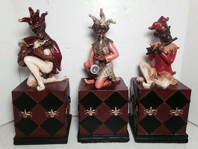 3 Jester Musician Monkeys Playing Musical Instruments Figurines