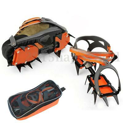 Pair 12 Teeth Crampons Gripper Antislip Ice Hiking Climb Boot Shoe Cover Cleats