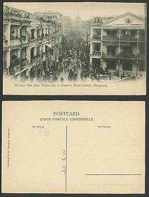 Hong Kong 1908 Old Postcard Chinese New Year Procession in Queen's Road Central