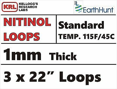 "3x STANDARD TEMP WELDED LOOPS 22"" TRAINED NITINOL WIRE 115f/45c 1.0mm Robotics"