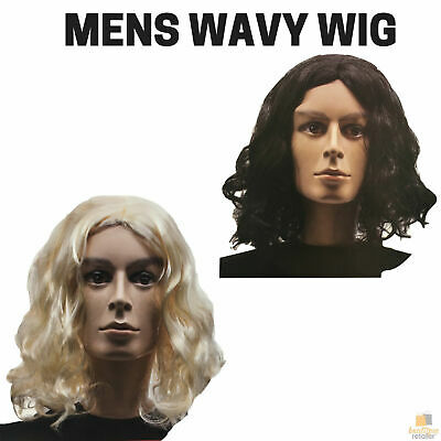 MEN'S WAVY WIG Curly Long Hair Disco Punk Rock Party Costume 60s 70s 22705 New