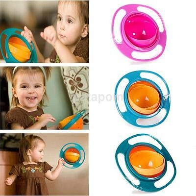 Bowl Kids Creative UFO Baby 360 Rotate Never Spill Food Dishes Handheld Plate AU