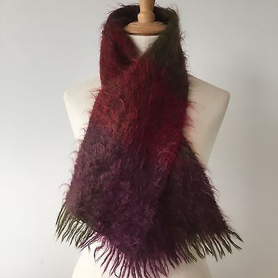 BEAUTIFUL VINTAGE MOHAIR SCARF Purple & Red Check c1960
