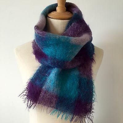 BEAUTIFUL VINTAGE MOHAIR SCARF Purple & Turquoise Check c1960