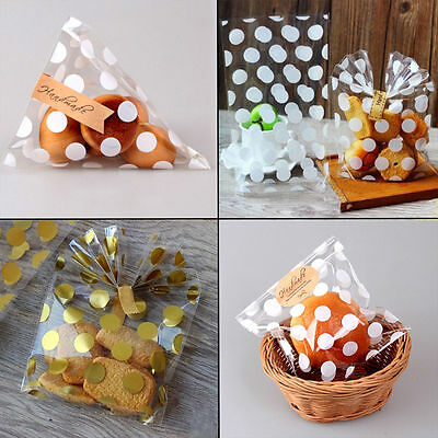 100Pcs Clear Cellophane Party Polka Dots Sweet Treat Candy Bags Gift Party Bag
