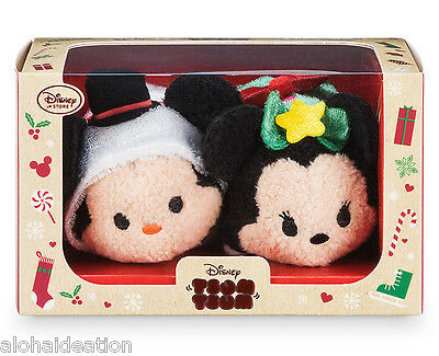 Disney Store Mickey & Minnie Mouse Christmas 2016 Tsum Tsum Set  NEW IN BOX