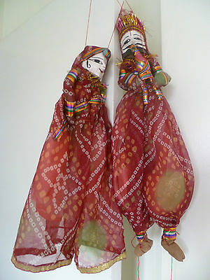 vintage indian puppet dolls man & lady bright clothes handcarved painted crafted