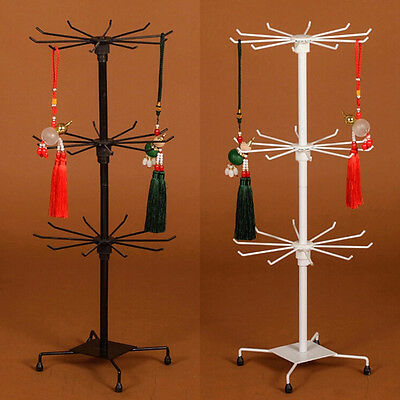 Rotating Iron 3-Tier Revolving Stand Rack Jewelry Mobile Keyring Display